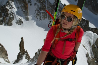 Caroline Gleich ascending the south couloir of the Aiguille de Chardonnay in the French Alps.