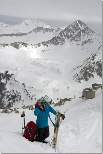 Caroline Gleich on ski tour to Coalpit Gulch, Little Cottonwood anyon, Wasatch Mountains, Utah
